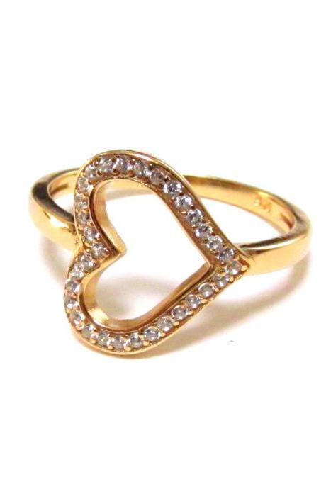 Sideways Heart RIng-14 Kt Gold Over 925 Sterling Silver Ring With CZ-Size 5 to 9