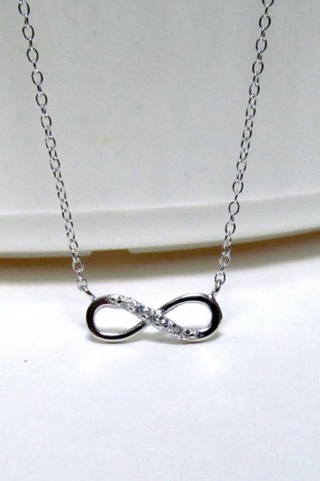 Infinity Necklace-Petite Rhodium Over 925 Sterling Silver Necklace With CZ-18 inch Cable Chain