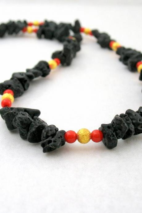 Coral Lava Necklace, Black Gold Necklace, Gemstone Beaded Necklace, Freeform Stones Jewelry, Elegant Jewelry, Under 50 40