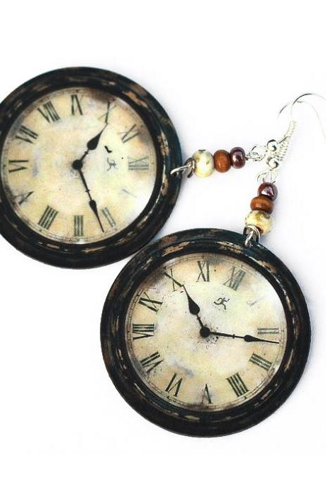 Rustic Clock - decoupage earrings - earth tones - double faced