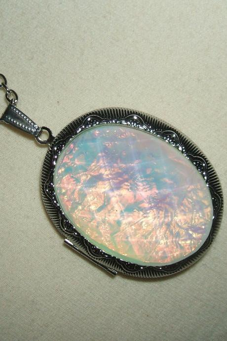OPAL Effect Necklace LOCKET Pendant Photo Holder GORGEOUS Opalized Faceted Stone