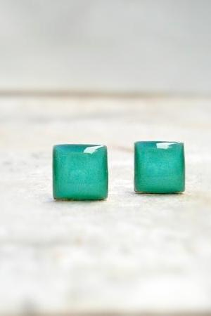 NEW Small Cute Earrings Studs, Turquoise Earrings, Square Earrings, Summer Gift