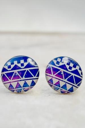 NEW Galaxy Earrings, Boho Geometric Ear Studs, in Blue Purple