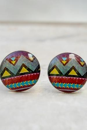 NEW Tribal Earrings, Boho Geometric Ear Studs, in Chocolate, Yellow, Blue, Grey