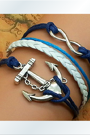 The ancient silver romantic password anchor hand-knitted leather cord multi-layer bracelet