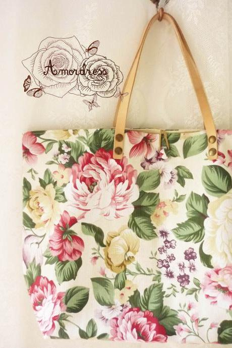 Floral Tote Bag Printed Canvas Bag Genuine Leather Strap White Cream with Floral Garden Shabby Chic Bag ...Amor The Inspired Collection...