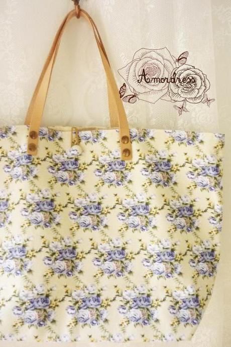 Floral Tote Bag Printed Canvas Bag Genuine Leather Strap Cream with Lavender Floral Shabby Chic Bag ...Amor The Inspired Collection...