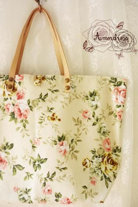 Floral Tote Bag Printed Canvas Bag Genuine Leather Strap Light Khaki with Pink Rose Shabby Chic Bag ...Amor The Inspired Collection...