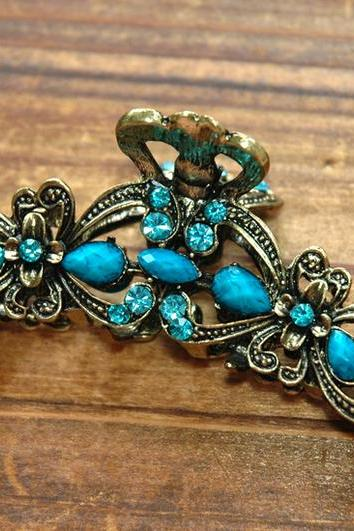 Turquoise Stones and Rhinestone Flower Claw Clip