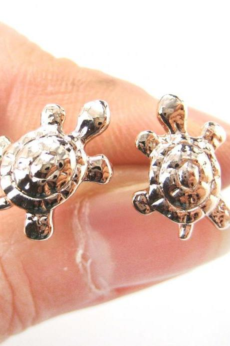 Cute Turtle Tortoise Sea Animal Stud Earrings in Rose Gold
