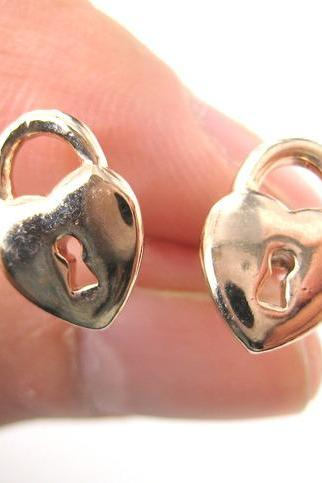Heart Shaped Key to My Heart Lock Stud Earrings in Rose Gold