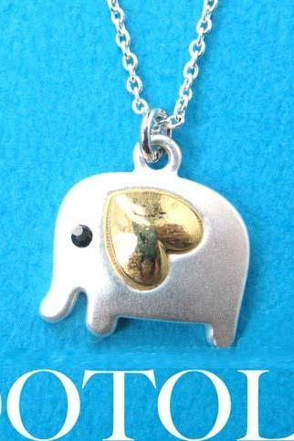 Small Elephant Animal Charm Necklace in Silver with Gold Heart Detail