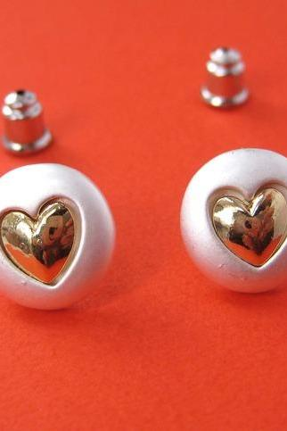 SALE - Round Silver Earrings with Heart Shaped Detail- ALLERGY FREE