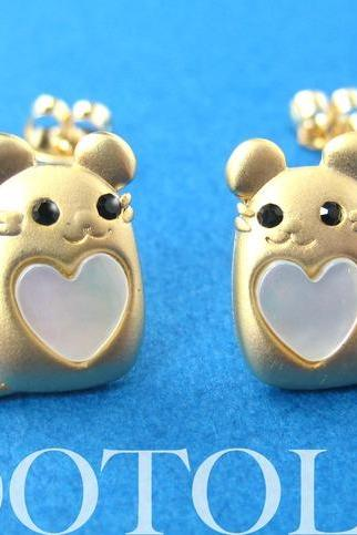 Mouse Cute Animal Earrings in Gold with Pearl Heart Detail ALLERGY FREE