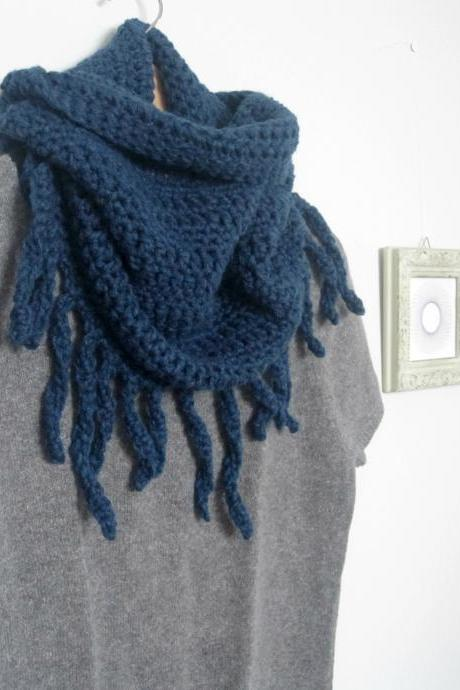 Savages, crochet fringes cowl, neckwarmer in blue jeans
