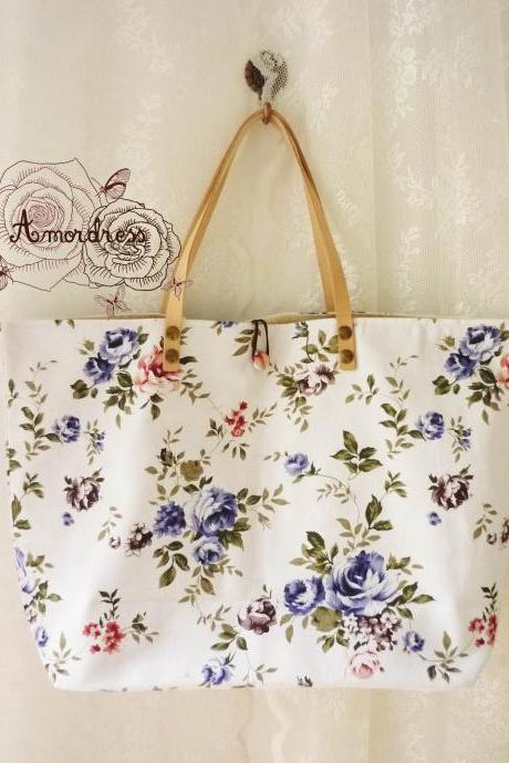 Floral Tote Bag Printed Canvas Bag Genuine Leather Strap White Blue Rose Floral Garden Shabby Chic Bag ...Amor The Inspired Collection...