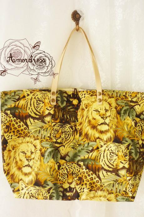 The Safari World Tiger Lion Tote Bag Printed Canvas Bag Genuine Leather Strap Retro Bag ...Amor The Inspired Collection...