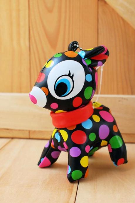 Puchi Babie, Bambi deer key chain, colorful dot