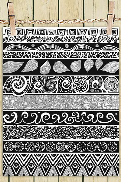 Poster Print 8x10 - Black and White Tribal Evolution - For Your Home Decor
