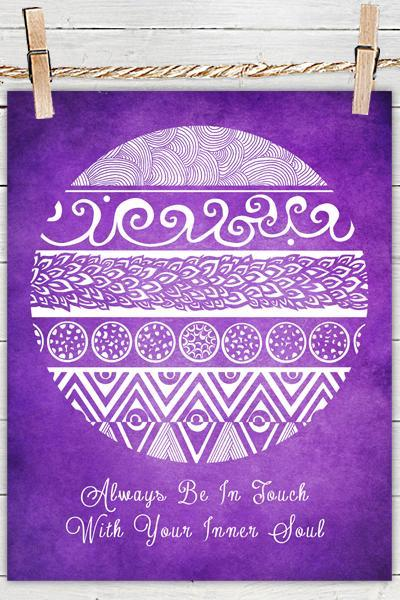Tribal Evolution Quote Deep Purple - Poster Print 8x10 - of Fine Art illustration for Your Wall Decor