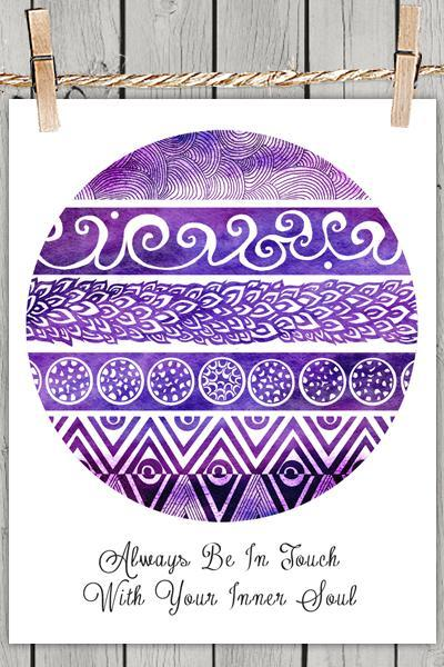 Tribal Evolution Quote Purple - Poster Print 8x10 - of Fine Art illustration for Your Wall Decor