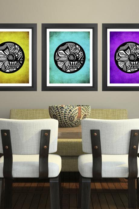 Poster Prints Discounted 11x14 Set of 3 - Multicolor Tribal Circles