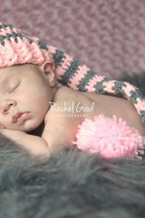 Baby Crochet Long Tail Elf Hat, Baby Crochet Elf Hat, Newborn Hat