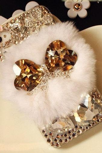 Fur Crystal IPhone 4 case 3d bling crystal iphone 4 case