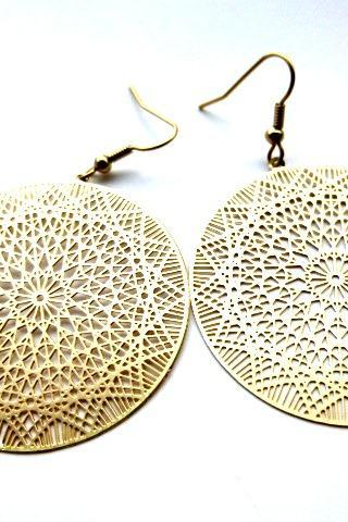 Gold star hoop earrings. Jewelry. Gold round filigree Hoops, bohemian. Matte gold. Gold jewelry.