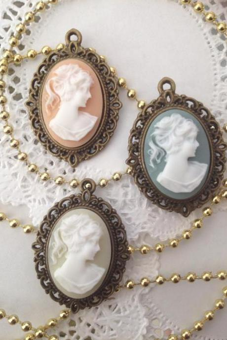 1 - Victorian Lady Cameo Charm (Choose Yellow, Blue or Peach)
