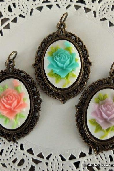 1 - Victorian Rose Cameo Charm (Choose Pink, Blue or Purple)