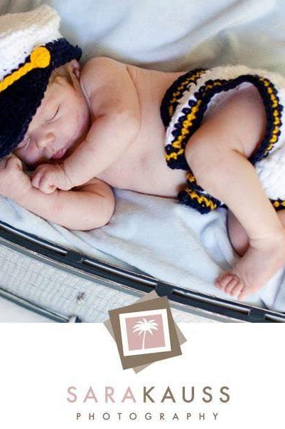 SET Baby boy girl unigender sailor navy captain hat diaper cover newborn to 3 months hand made photography props