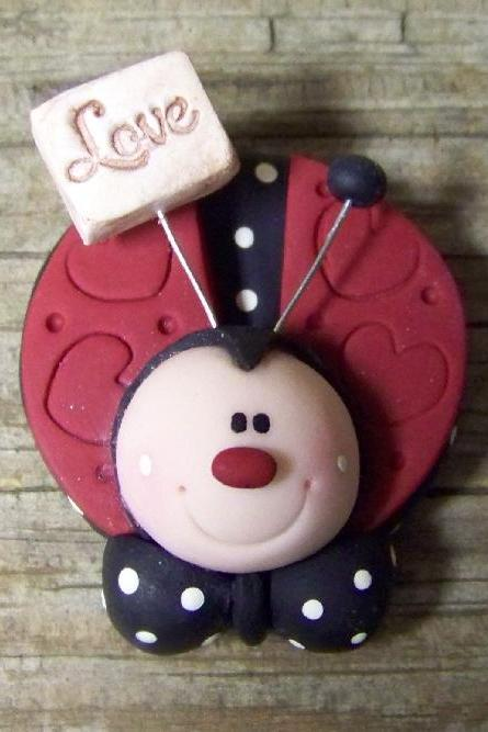 Love Bug Ladybug - Polymer Clay - Pin - Magnet - Your Choice
