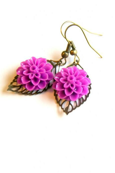 Purple Flower and Brass Leaf Earrings