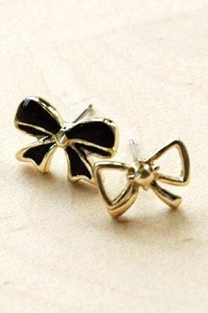 Black Bow / Ribbon Earrings