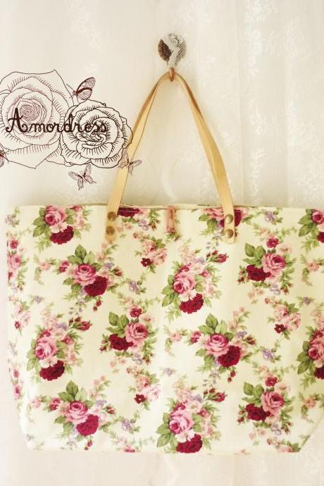 Floral Tote Bag Printed Canvas Bag Genuine Leather Strap Cream with Pink Rose Shabby Chic Bag ...Amor The Inspired Collection...