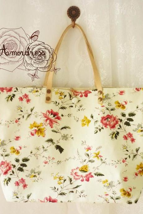 Floral Tote Bag Printed Canvas Bag Genuine Leather Strap Light Khaki with Spring Floral Shabby Chic Bag ...Amor The Inspired Collection...