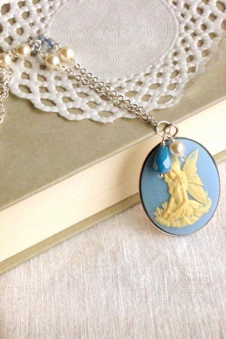 'Fairy Lisbeth' in silver tones, cameo necklace- 'Treasures' - blue, white, victorian jewelry, vintage style