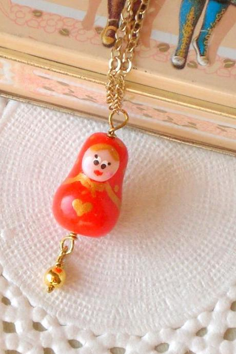 Children Matryoshka necklace, in red and gold, polymer clay, girls jewelry, Valentine jewelry