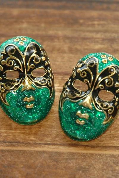 Green Phantom of the Opera Butterfly Mask Earrings