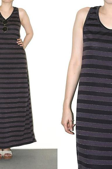 Maxi Dress Purple Black Gold Stripe Tank Top Women Shirt Size S