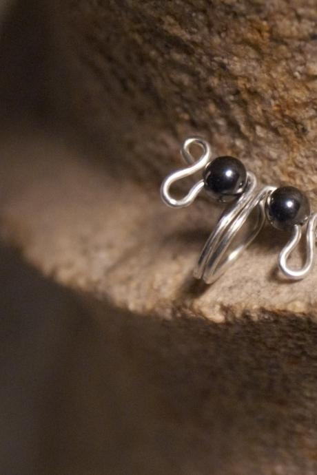 Hematite Gemstone Ear Cuff in Silver