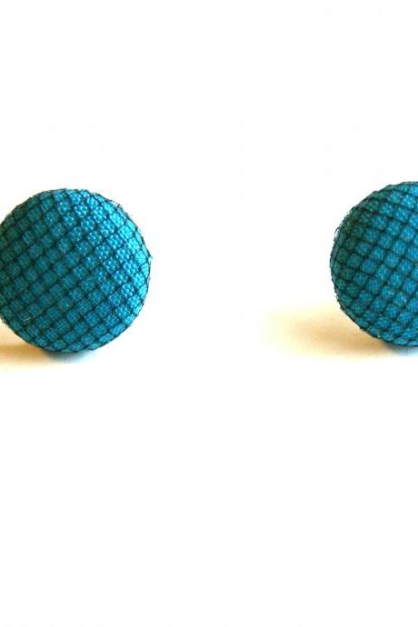 Teal and Black Tulle Fabric Covered Button Earrings