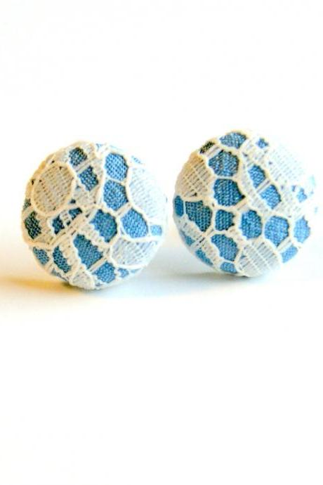 Light Blue and Ivory Lace Fabric Button Earrings
