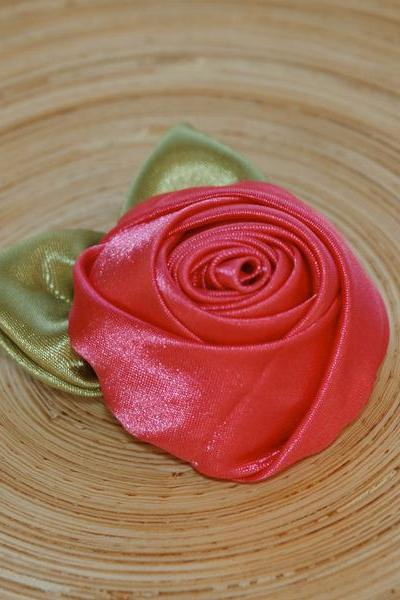 Cherry Pink Satin Rose Hair Clip