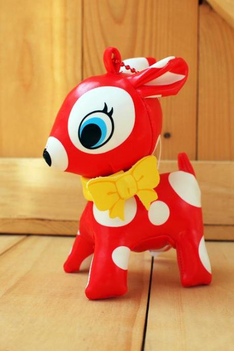 Puchi Babie, Bambi deer key chain, Red, White dot