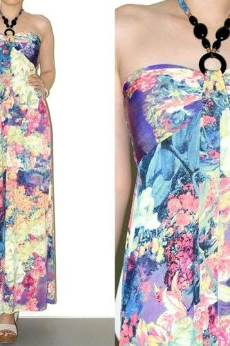 Flora Halter Sundress Beach Purple Maxi Dress Long Dress Summer Dress Women Size S