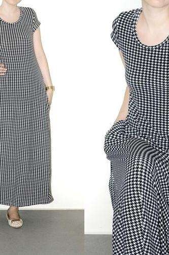 Maxi Pocket Dress Day Houndstooth Black And White Short Sleeve Party Women Shirt Size M