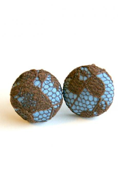 Light Blue and Brown Lace Button Covered Earrings