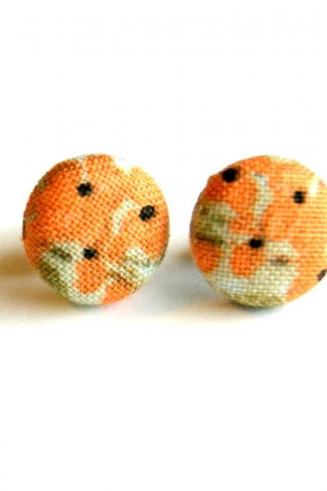 Peach Flower Fabric Button Earrings